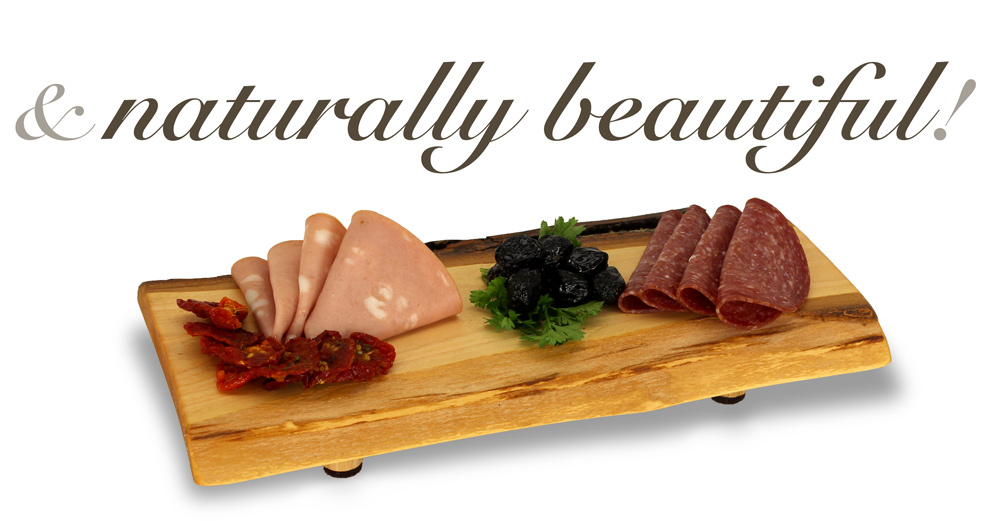 "Small cheeseboard with meats and olives reading, ""and naturally beautiful""."