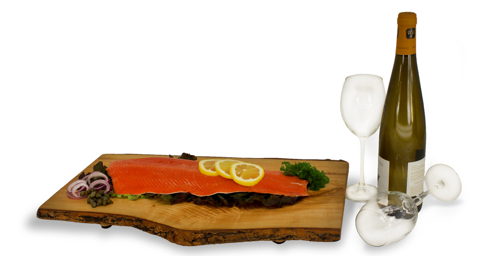 Large Cheeseboards with salmon and wine